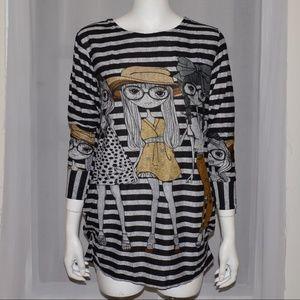 Tops - Gray & Black Striped Tunic Sweater NEW Medium M